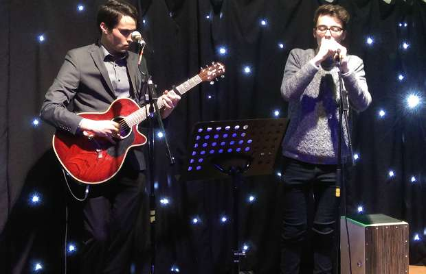 Chris and Dan performing on the Garrick community stage