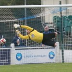 Joe Halsall's shot comes back off the bar. Pic: Dave Birt