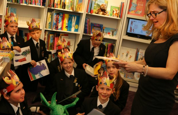 Cressida Cowell talking to Maple Hayes pupils