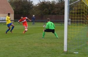 Nick Turton fires goalwards. Pic: Laura Yates