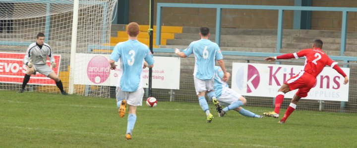 Michael Williams fires Chasetown in front. Pic: Dave Birt