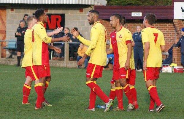 Lichfield City's players celebrate. Pic: Mick Tyler