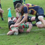 Daryll Organ crosses for a try. Pic: Joanne Gough