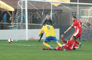 Rhys Thompson concedes a penalty. Pic: Dave Birt