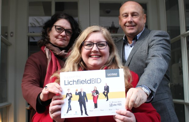 Morag Pringle with members of the Lichfield BID