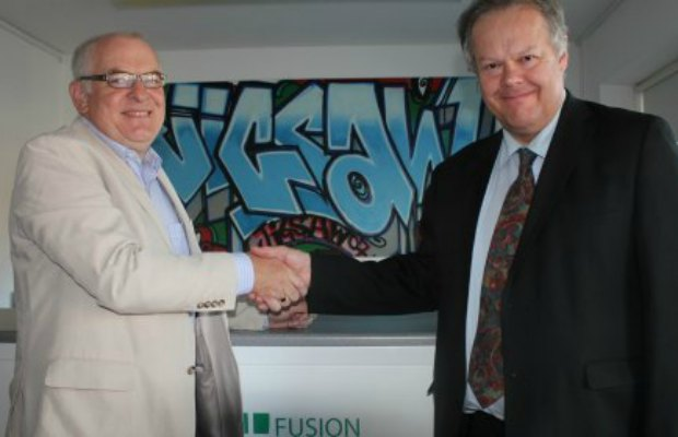Fusion Credit Union's Peter Selwyn and Colin Greatorex at the Jigsaw hub in 2014