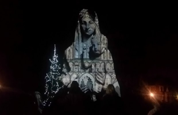 Images beamed onto Lichfield Cathedral