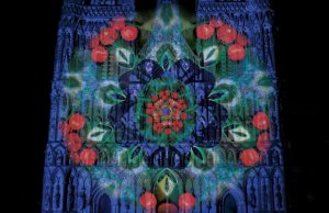 Festive projections on Lichfield Cathedral