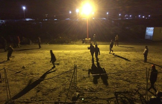 A football game being played in the refugee camp. Pic: Dave Simcox