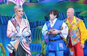 Julian Clary, Lee Mead and Matt Slack in Aladdin. Pic: Keith Pattison