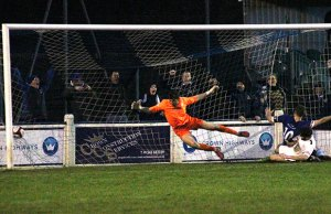 Paul Sullivan puts Chasetown 2-1 in front. Pic: Dave Birt