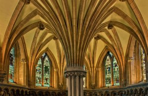 The interior of the Chapter House at Lichfield Cathedral