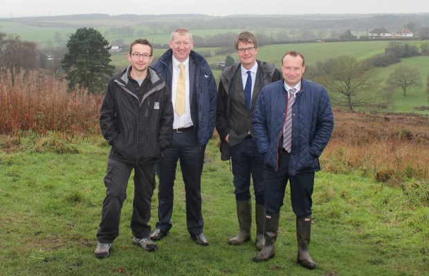 Jeff Sim (Staffordshire Wildlife Trust), John Smith (Lichfield District Council), Julian Woolford (Staffordshire Wildlife Trust) and Cllr Andy Smith at Gentleshaw Common