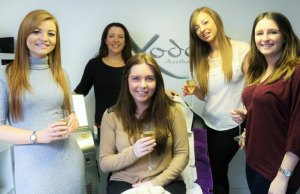 Sally Wagstaff (rear) with Jessica Paling and her bridesmaids