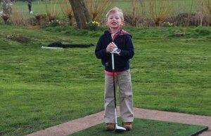 Fraser Hamilton-Wright prepares to tee off at Beacon Park's golf course
