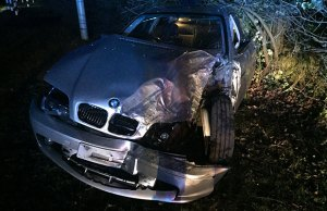 The wreckage of one of the cars involved in the crash near Bassets Pole