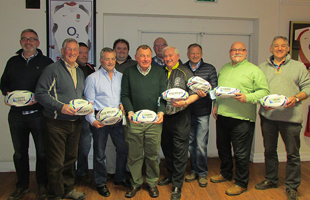 Representatives from local rugby clubs collecting the free balls