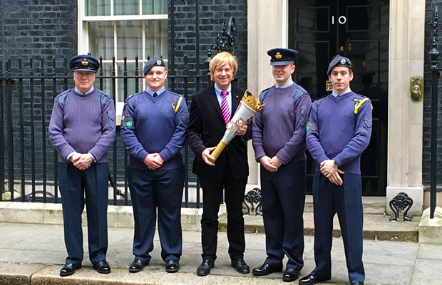 The group of air cadets with Michael Fabricant MP outside 10 Downing Street