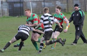 Tom O'Brien is tackled. Pic: Joanne Gough