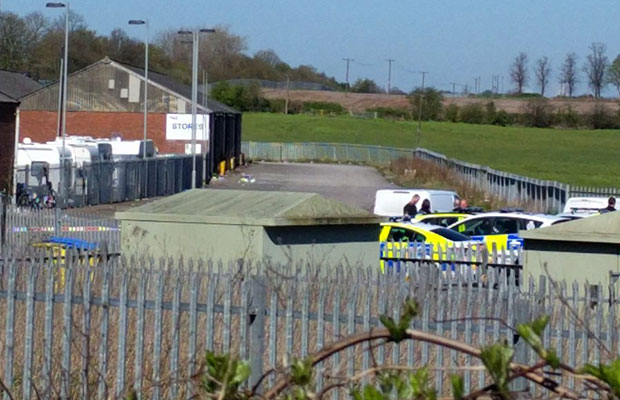 Police at the traveller site in Streethay