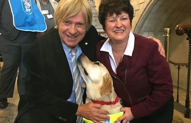 Michael Fabricant MP with Carol Trigg and her guide dog Flora