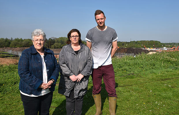 Councillors Sue Woodward and Sharon Banevicius with ranger Rob Taylor on land used by deer near the development in Burntwood