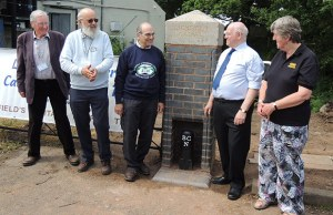 David Dixon and Peter Buck from the Lichfield and Hatherton Canals Trust with David Suchet, Wall Parish Council chairman Cllr John Crowe and Brenda Ward from the BCN Society
