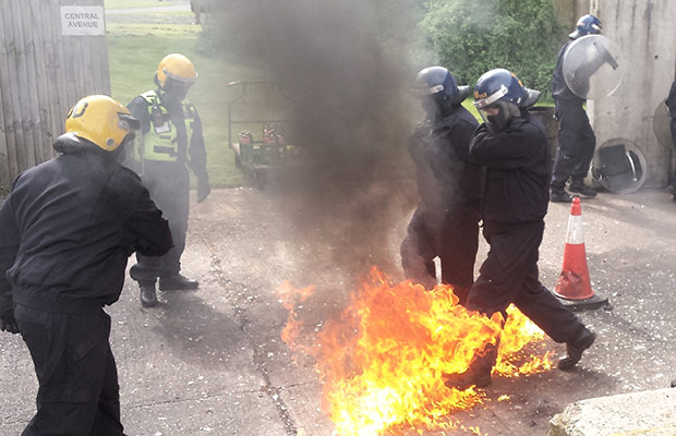 A police riot training drill