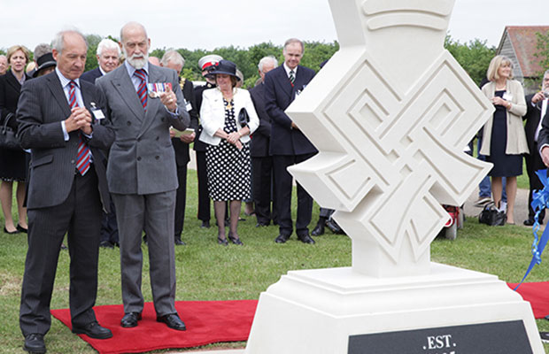 General Sir Kevin O'Donoghue KCB CBE and His Royal Highness Prince Michael of Kent GCVO at the new memorial