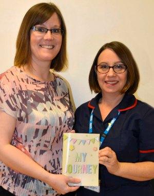 Clare Ellett, Chair of Lichfield Ladies Circle wotj Clare Raiman, Neonatal Sister/Development Lead at Birmingham Women's Hospital