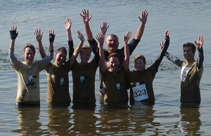 Competitors in the St Giles Hospice mud challenge