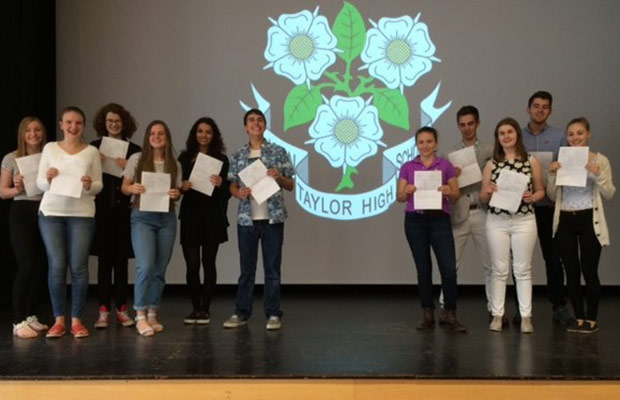 John Taylor High School students with their results