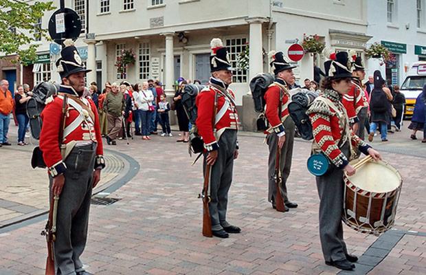 Coldstream Guards re-enactors in Lichfield city centre