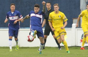 Chasetown captain James Dance plays a pass. Pic: Dave Birt