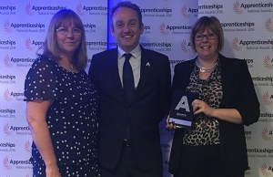 Claire Phizacklea and Fay Gibbin with Anthony Knowles from the Skills Funding Agency at the awards ceremony