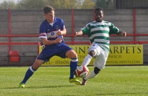 Matthias Curley battles for the ball. Pic: Pamela Mullins