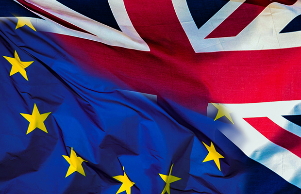 European Union and UK flag