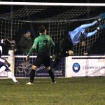 Ben Chapman makes a save to keep out Chasetown. Pic: Dave Birt