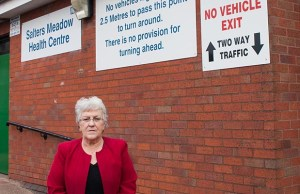 Cllr Sue Woodward outside Salters Meadow Health Centre