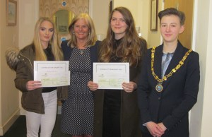 Morgan Thomas, Jane Sutton, Freya Houghton and Burntwood Town Council chairman Cllr Beth Fisher