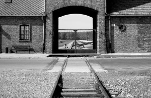 The Death Gate, leading into the Auschwitz camp