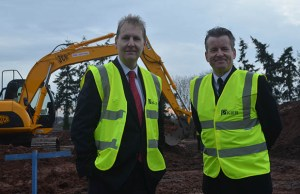 Police and Crime Commissioner Matthew Ellis with Deputy Chief Constable Nicholas Baker at the site of the new police facility in Lichfield