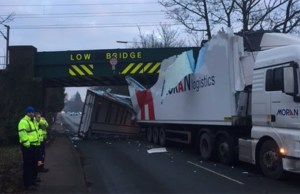 The damaged lorry after hitting a bridge. Pic: Network Rail