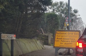 Signs warning drivers of the Sturgeons Hill closure