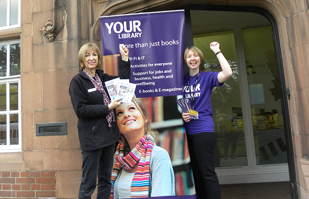 Christine Francis from Visit Lichfield with Liz Leyshon from Lichfield Library