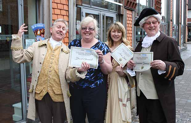 Karen Foster with modern day versions of David Garrick, Anna Seward and Erasmus Darwin