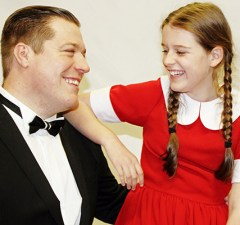 Pete Beck as Daddy Warbucks and Molly Bagley as Annie