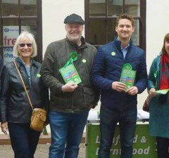 Rpbert Pass (second from right) with Green Party supporters in Lichfield
