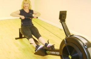 Lyn Rogers on one of the new rowing machines