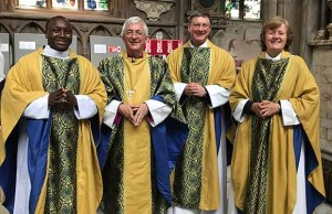 Fr Stanley Njoka from Woolwich and Bishop Michael Ipgrave, with Revd Canon Andrew Stead and Revd Canon Pat Hawkins, both from Lichfield Cathedral